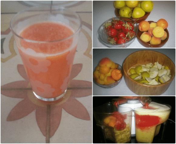 Zumo de fresas, albaricoques y manzanas