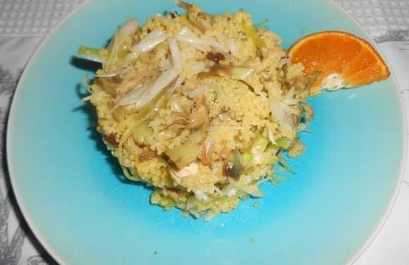 Receta de wok de alcachofas y ajos tiernos con cuscus a la naranja