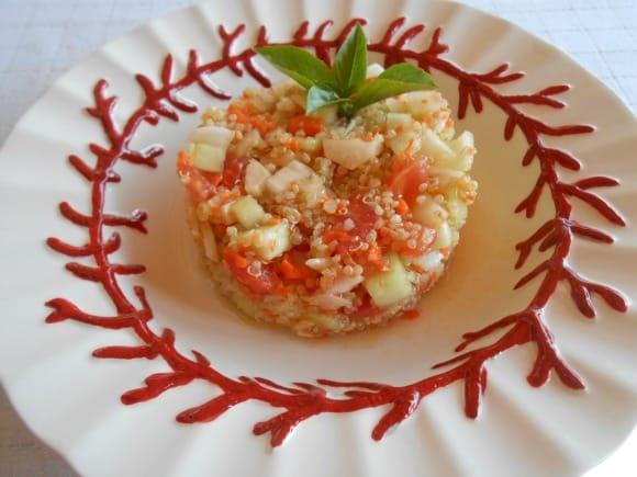 Receta de ensaladilla de quinoa con aliño agridulce
