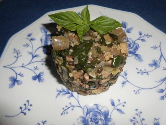 Receta de acelgas con quinoa y champiñones