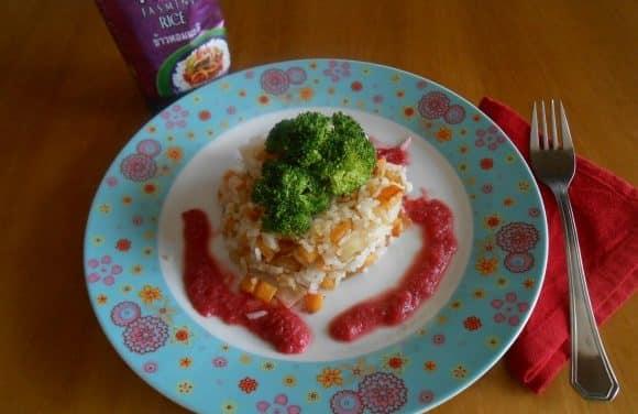 Receta de arroz Thai Jasmine con verduritas y salsa de remolacha y manzana