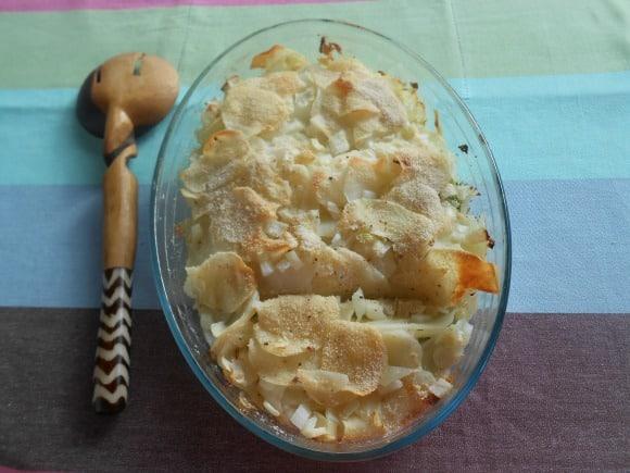 Receta de gratinado de patatas con verduritas (vegano)