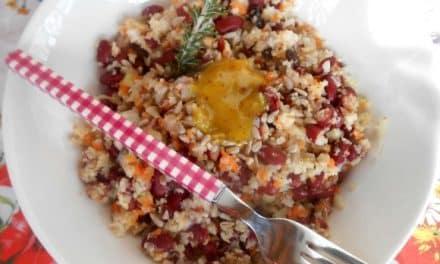 Receta de ensalada de alubias, cuscus de coliflor y semillitas con salsa mostaza con miel