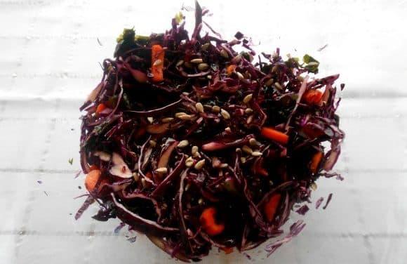 Ensalada de col lombarda, wakame, pipas y aliño de naranja