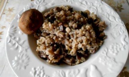 Receta de arroz integral con shiitakes al vino tinto
