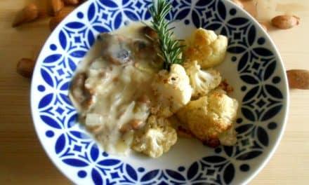 Receta de coliflor con shiitakes y bechamel de almendras