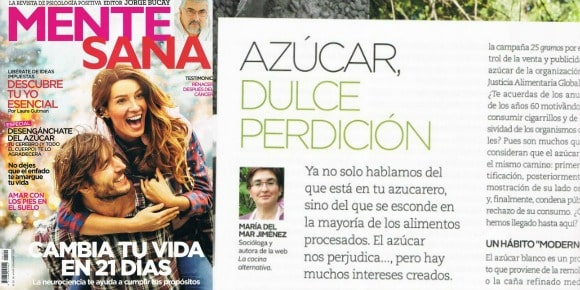 Publico un artículo contra el azúcar en la revista Mente Sana