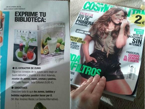 Mi libro de zumos aparece en la revista Cosmopolitan y en El Periódico de Cataluña