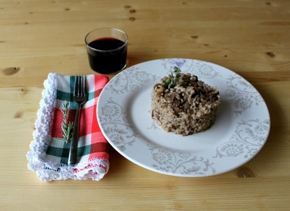 Receta de arroz con setas shiitake al vino tinto y tomillo