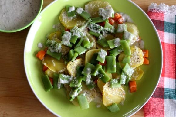 Receta de judías verdes y patatas con emulsión de anacardos y coco