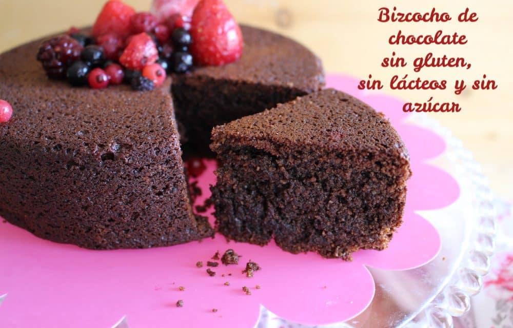 Bizcocho de chocolate sin gluten, sin lácteos ni azúcar