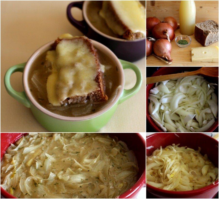 Pasos de la receta de sopa de cebolla gratinada al estragón