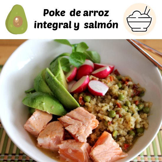 En vez de paella de verduras, poke de arroz y salmón con verduritas
